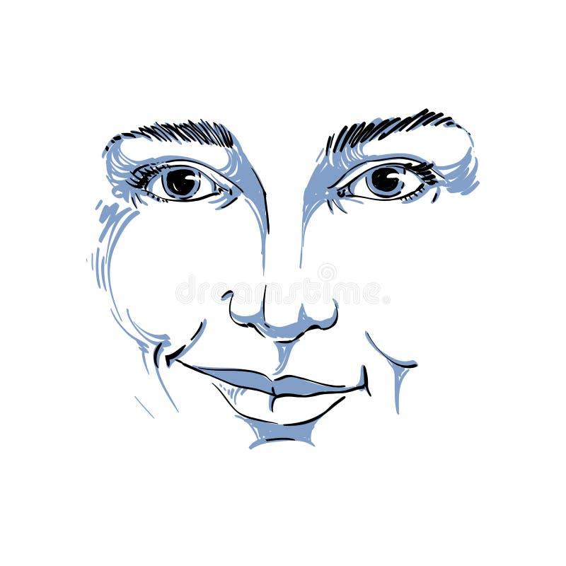 Vektorteckningen av den misstrogna kvinnan, framsida presenterar svart och wh stock illustrationer