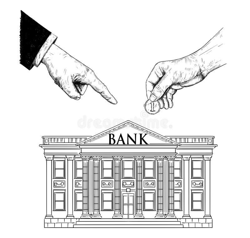 Vektorteckningen av handen av affärsmannen eller politikern i dräkt beställer en vanlig person för att sätta myntet i banken royaltyfri illustrationer