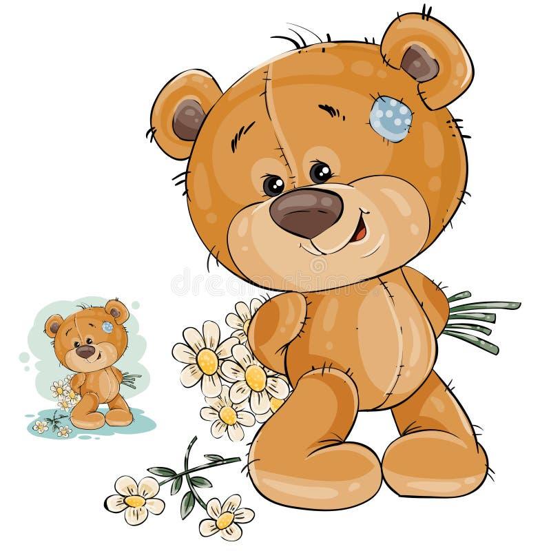 Vektorteddybär versteckt hinter Rückseite einen Blumenstrauß von Blumen und traut sich nicht, sie ihrer Freundin zu geben stock abbildung