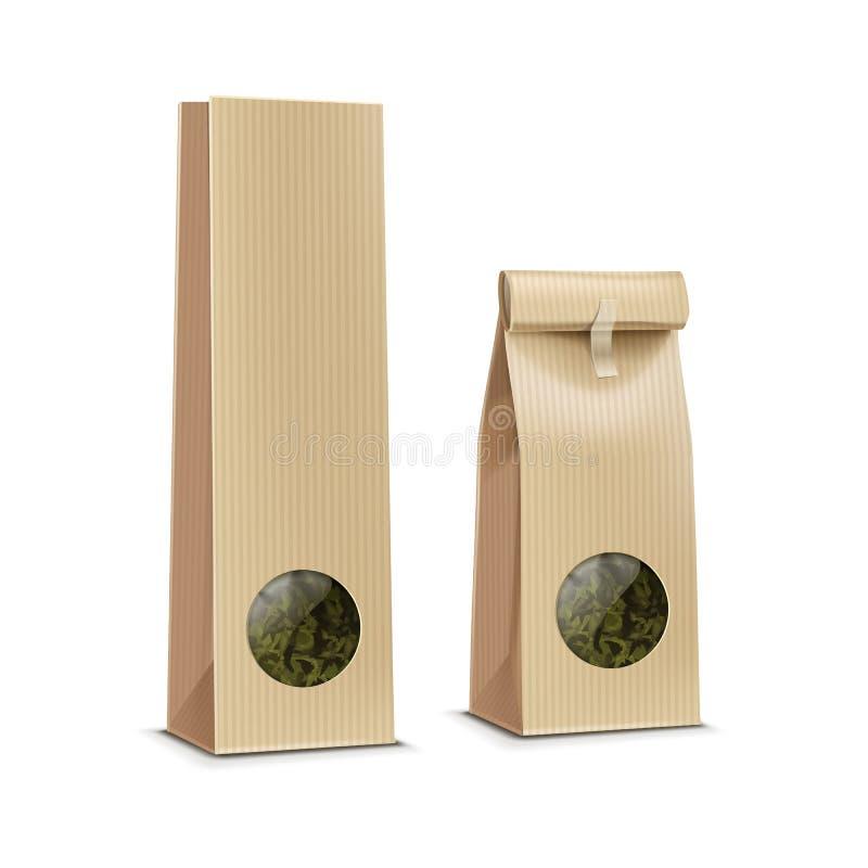 Vektorteekaffeepapierverpackungspaket-Satztasche mit Fenster lizenzfreie abbildung