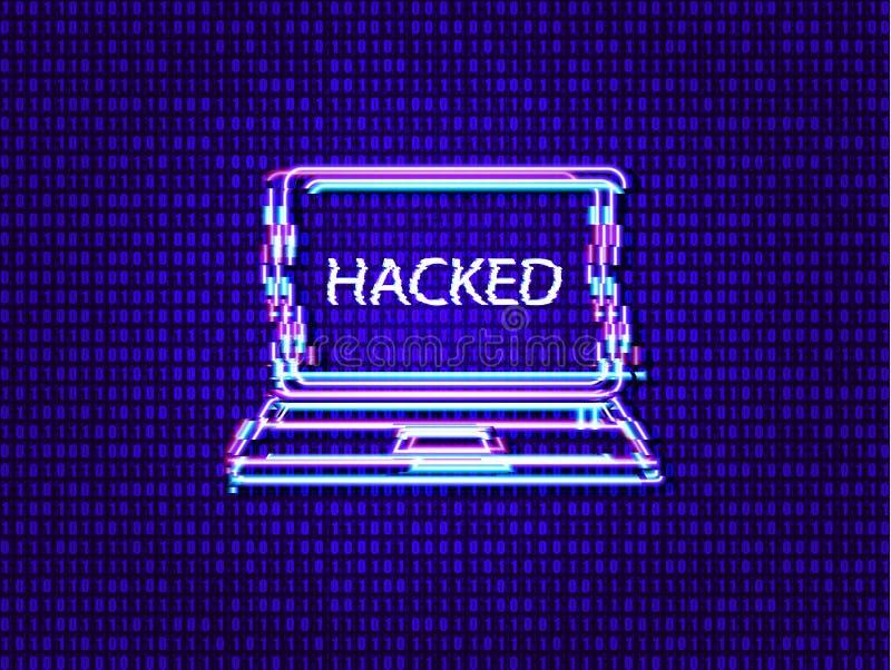 Vektorteknologibakgrund, textur för binär kod för matrisdata och glödande tekniskt felbärbar dator med hackat ord royaltyfri illustrationer