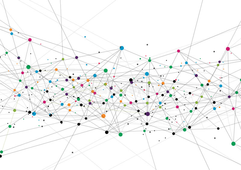 Vektorteknologibegrepp Förbindelselinjer och prickar Nätverkstecken royaltyfri illustrationer