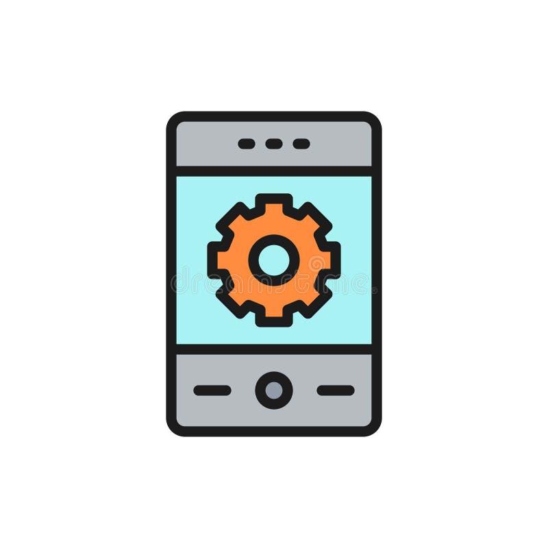 Vektortelefon med kugghjulet, smartphonereparation, plan färglinje symbol för utveckling vektor illustrationer
