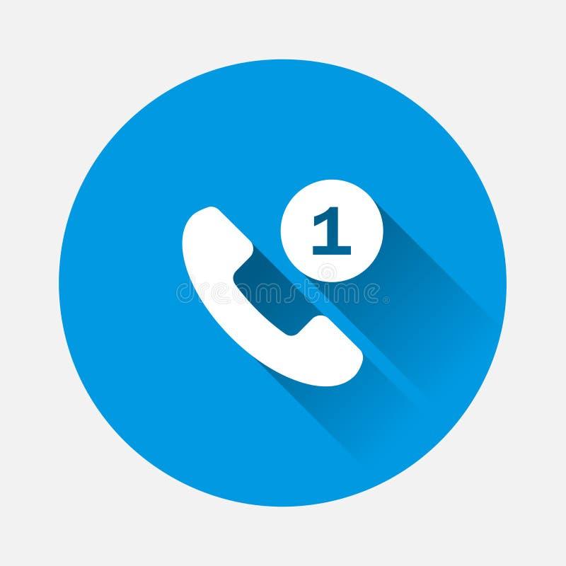 Vektortelefonlursymbol på blå bakgrund Plan bild felande appell royaltyfri illustrationer