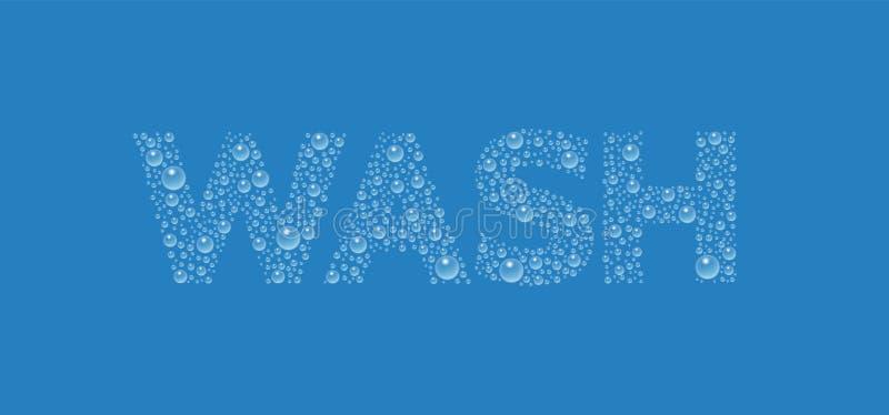 Vektortext från droplettextur Word-tvätt vektor illustrationer