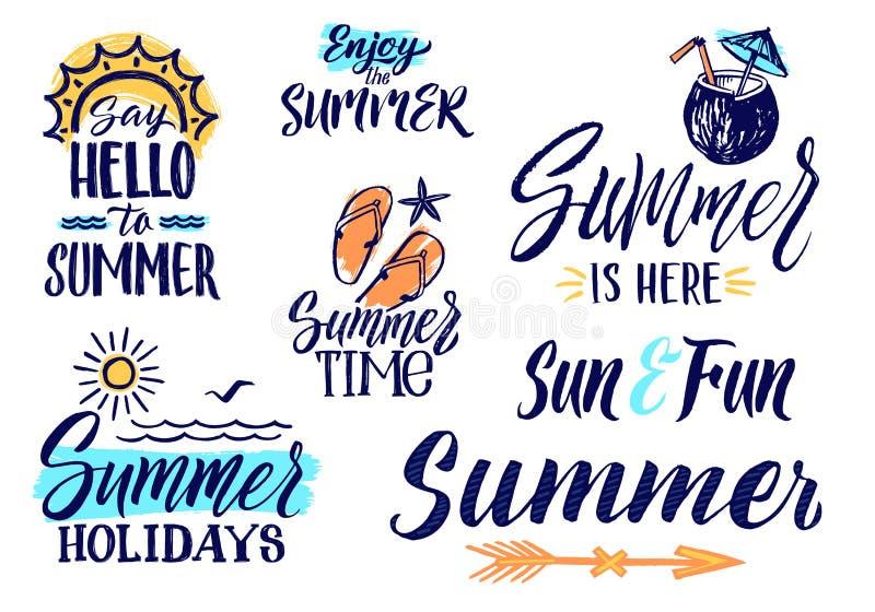 Vektortextbuchstaben für Sommerzeit Handschriftsillustrationen von Wörtern lizenzfreie abbildung
