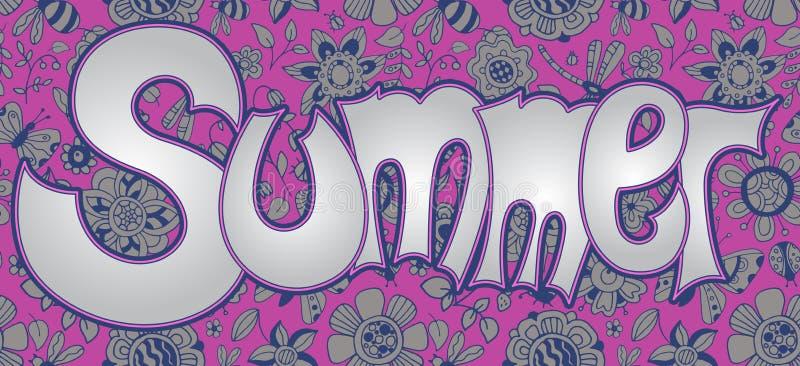 Vektortextsommar med blom- mångfärgad bakgrund royaltyfri illustrationer