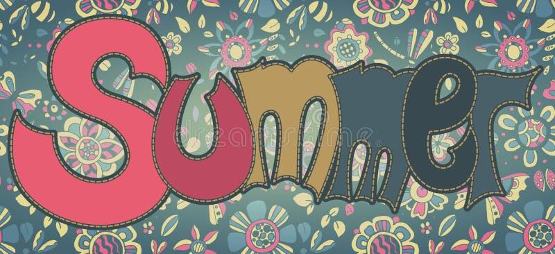 Vektortextsommar med blom- mångfärgad bakgrund vektor illustrationer