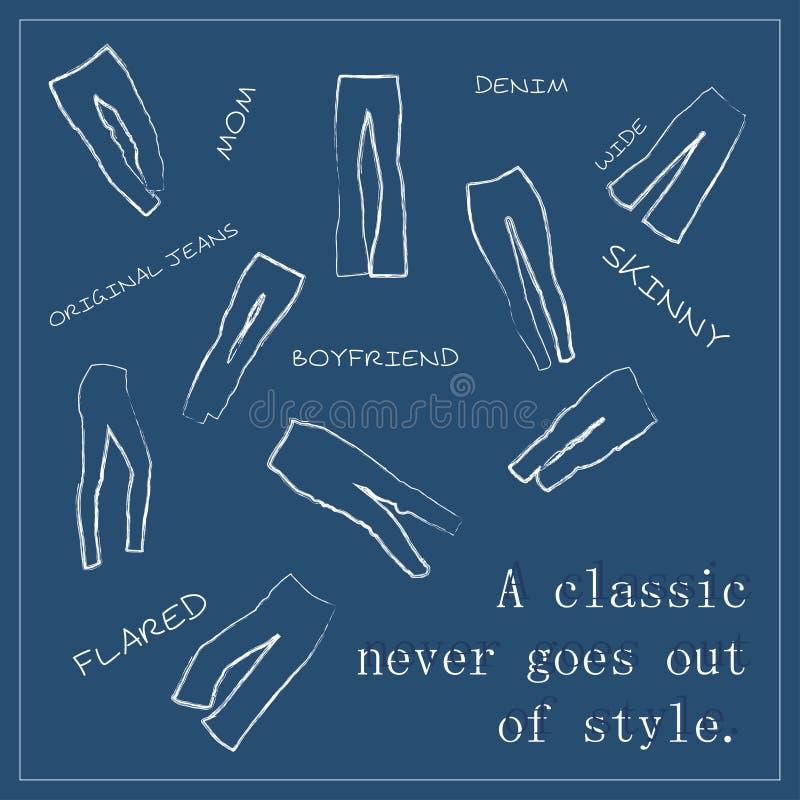 Vektortextur för åtskillig jeanstyp Alla typer är scalable vektorformat royaltyfri illustrationer