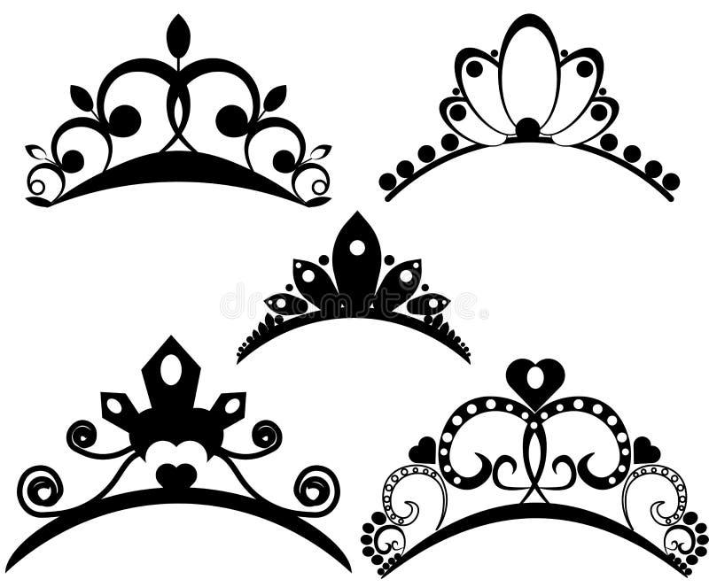 Vektortiaraupps?ttning Kr?na kungliga personen f?r drottningen eller prinsessan, symbolroyaltyillustration Samling av heraldiska  royaltyfri illustrationer