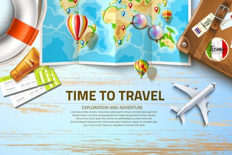 Vektortid att resa affischdesignen 3d royaltyfri illustrationer