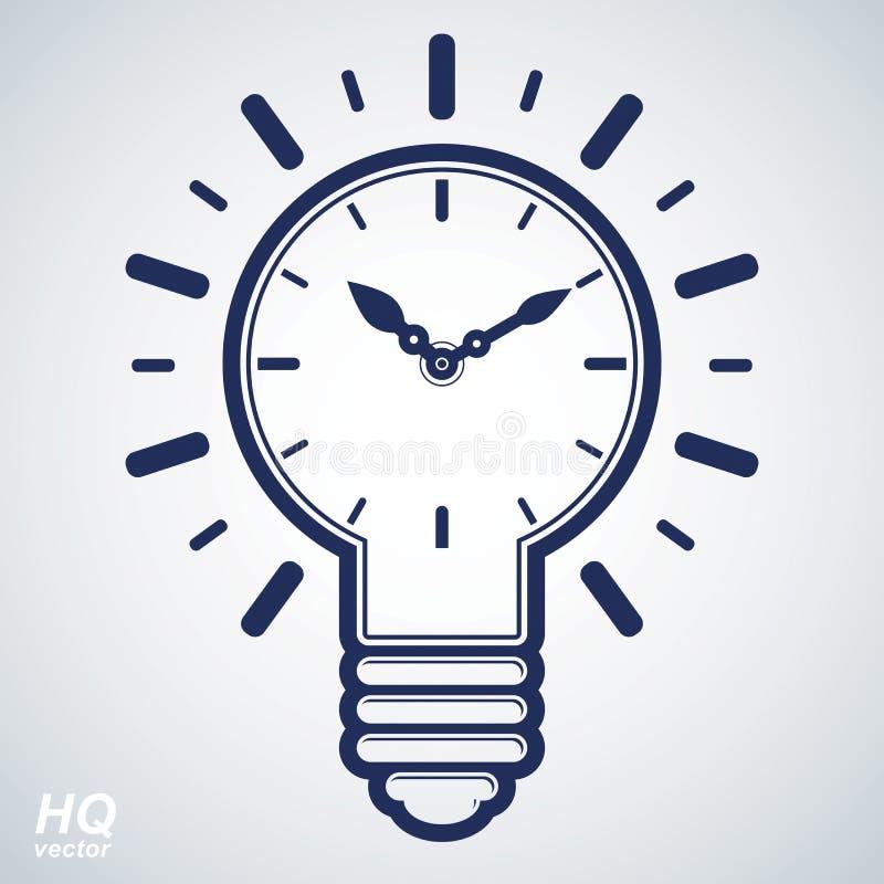Vektortidmätaren och en ljus kula för elektricitet undertecknar, den conc hjärnstormen royaltyfri illustrationer