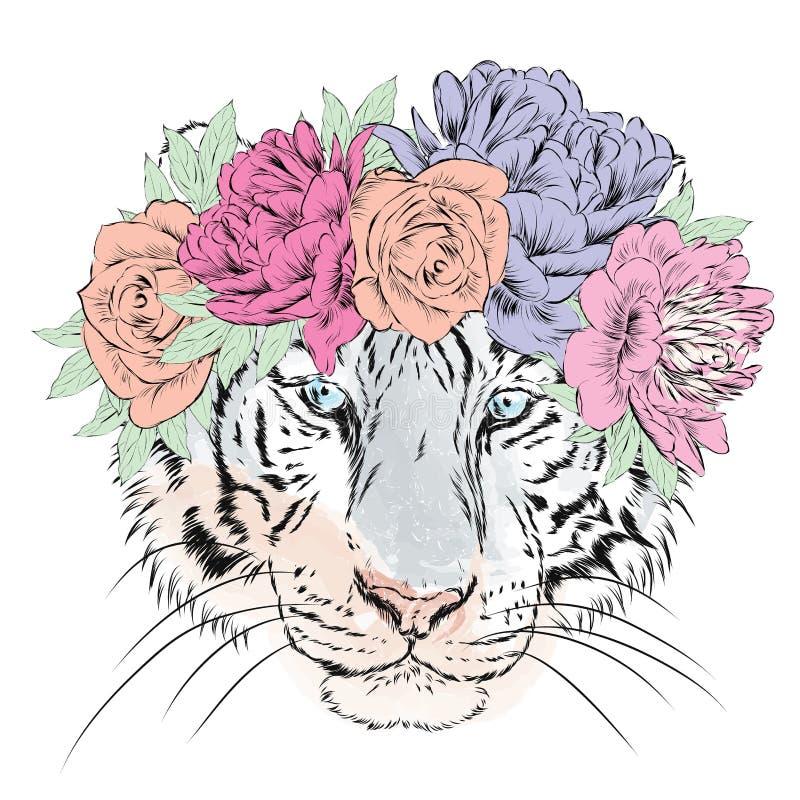 Vektortiger i en krans av blommor hipster Hälsningkort med en tiger stock illustrationer
