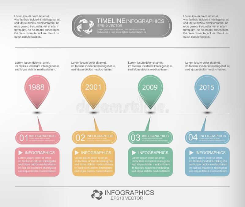 VektorTimeline Infographic vektor illustrationer