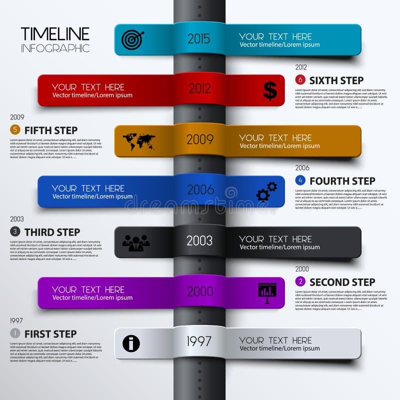 VektorTimeline Infographic Modern enkel design royaltyfri illustrationer