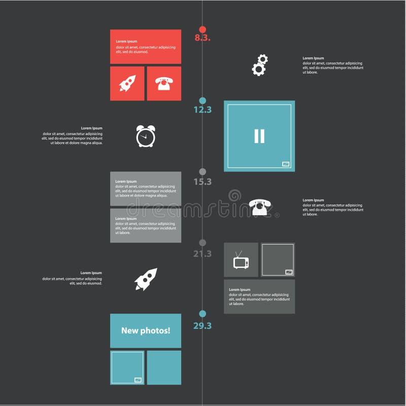 Vektortimelinemall. Modern plan design i moderiktiga färger. S royaltyfri illustrationer