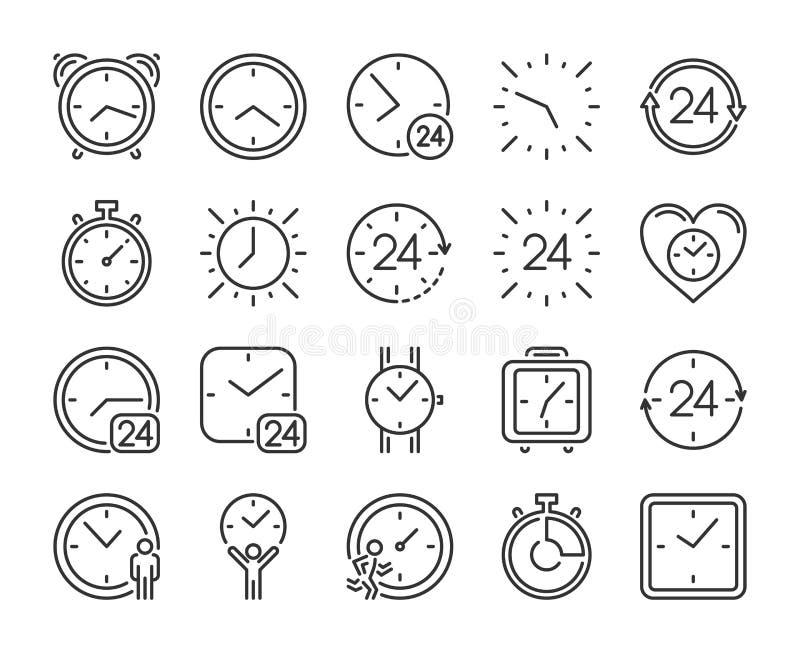 Vektortimer-Ikonen eingestellt Zeitmanagementlinie Ikonen eingestellt Editable Anschlag Pixel perfekt vektor abbildung