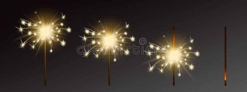Vektortomtebloss ställde in, realistiska signalljus med flammor stock illustrationer
