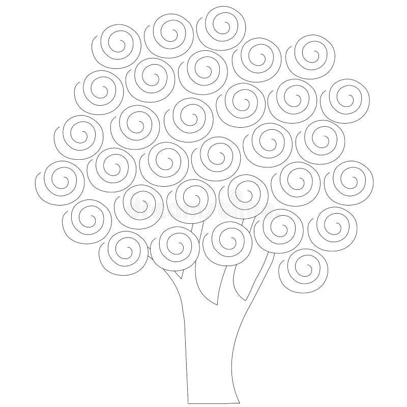 Vektorträd för emblem, för symbol, för den drog garneringhanden vektor illustrationer