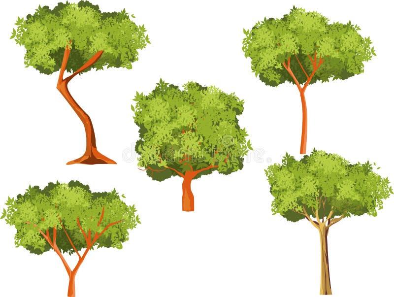 Vektorträd ställde in isolerat på den vita vektorn stock illustrationer