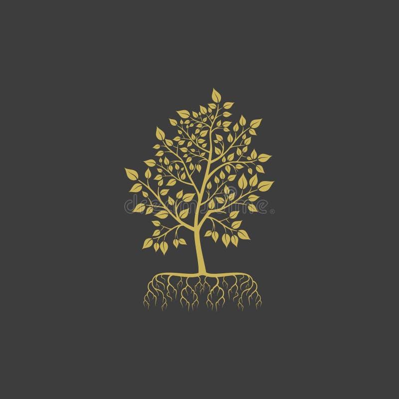 Vektorträdet med rotar logobeståndsdelen stock illustrationer