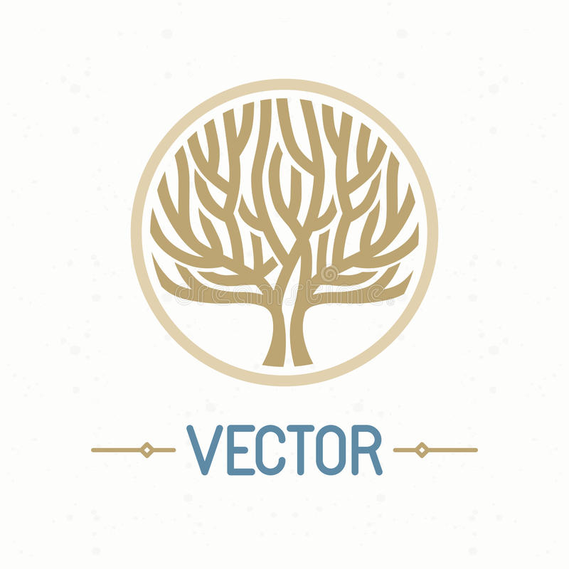 Vektorträdlogo stock illustrationer