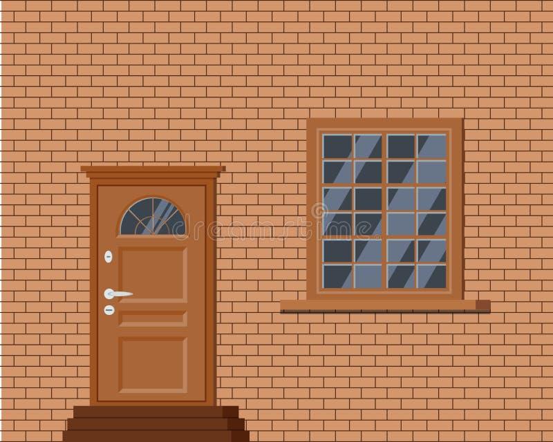 Vektorträstängd ytterdörr med trappa och fönstret royaltyfri illustrationer