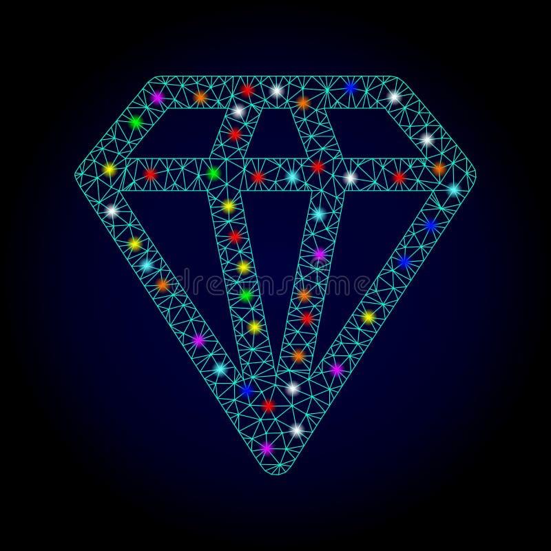 Vektortrådram Mesh Diamond med ljusa fläckar för Chistmas royaltyfri illustrationer