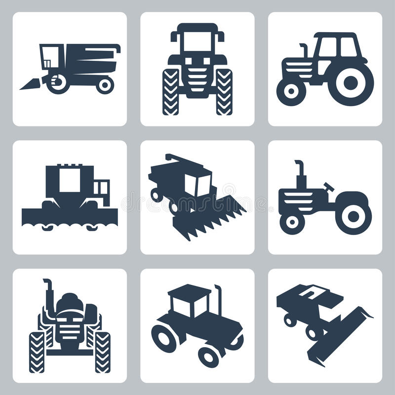 Vektortraktor- och skördetröskasymboler stock illustrationer