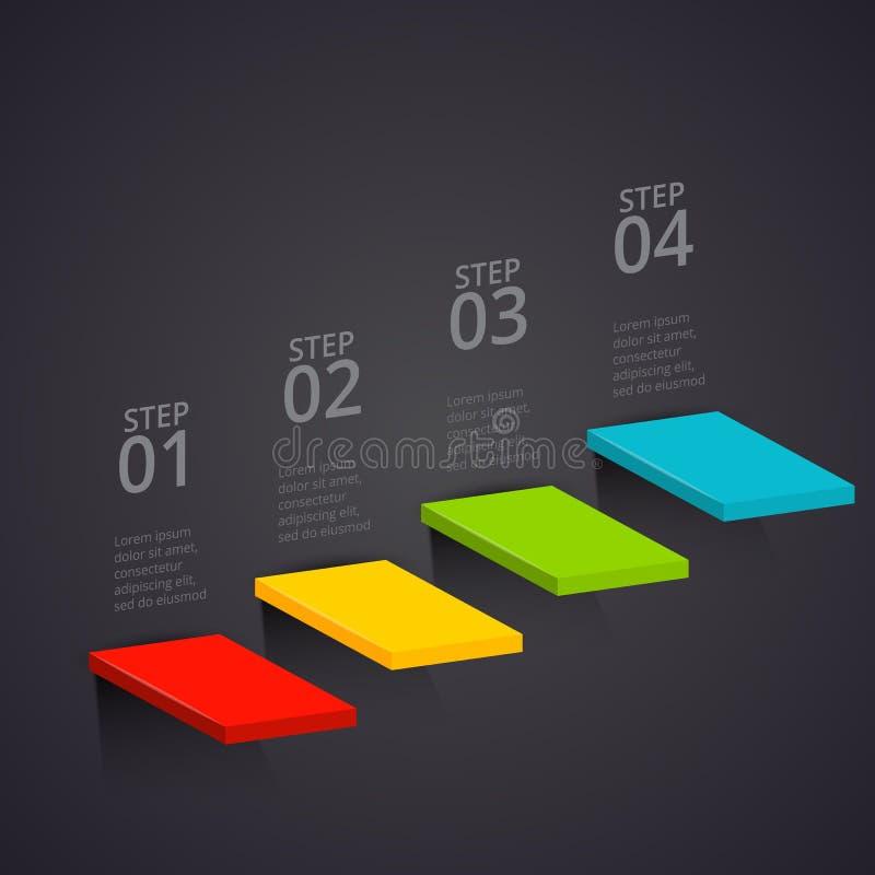 Vektortrappa på en mörk bakgrund Kan användas för presentationen, diagram, årsrapporten, rengöringsdukdesign Affär stock illustrationer