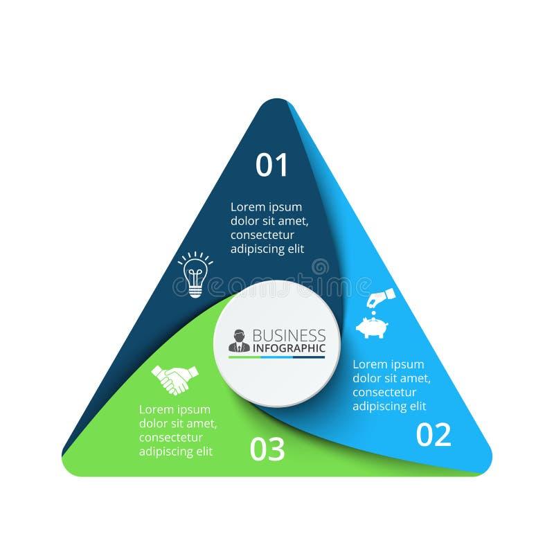 Vektortriangelbeståndsdel för infographic Affärsidé med 3 alternativ royaltyfri illustrationer