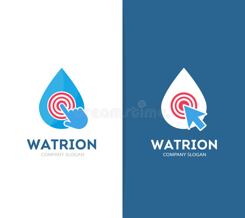 Vektortropfen und Klickenlogokombination Aqua und Cursor-Symbol oder -ikone Einzigartige Wasser- und Ölfirmenzeichendesignschablo vektor abbildung