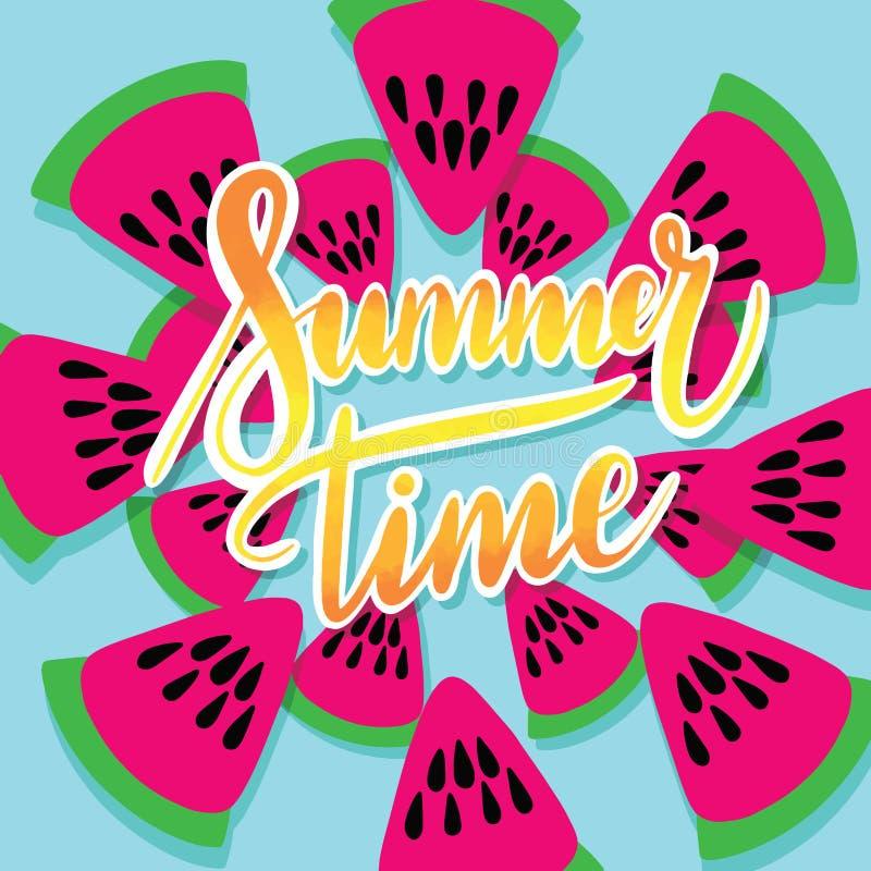Vektortryck med klottervattenmelon Inskriften som märker sommartid vektor illustrationer