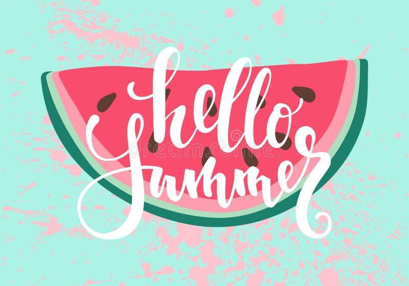 vektortryck med vattenmelon Inskriften som märker Hellosommar royaltyfri illustrationer