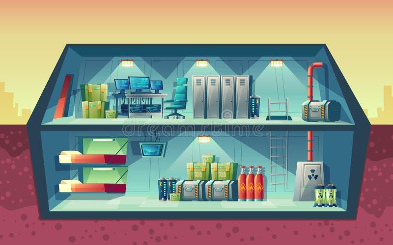 Vektortvärsnitt av det hemliga vetenskapliga laboratoriumet royaltyfri illustrationer