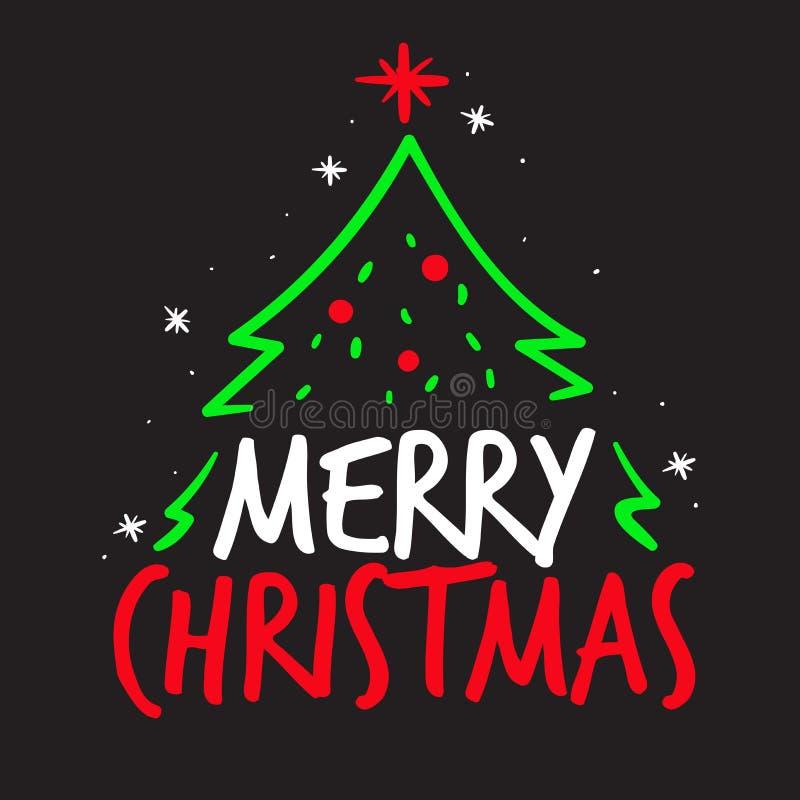 Vektortypographiekonzept der frohen Weihnachten mit Weihnachtsbaum lizenzfreie abbildung