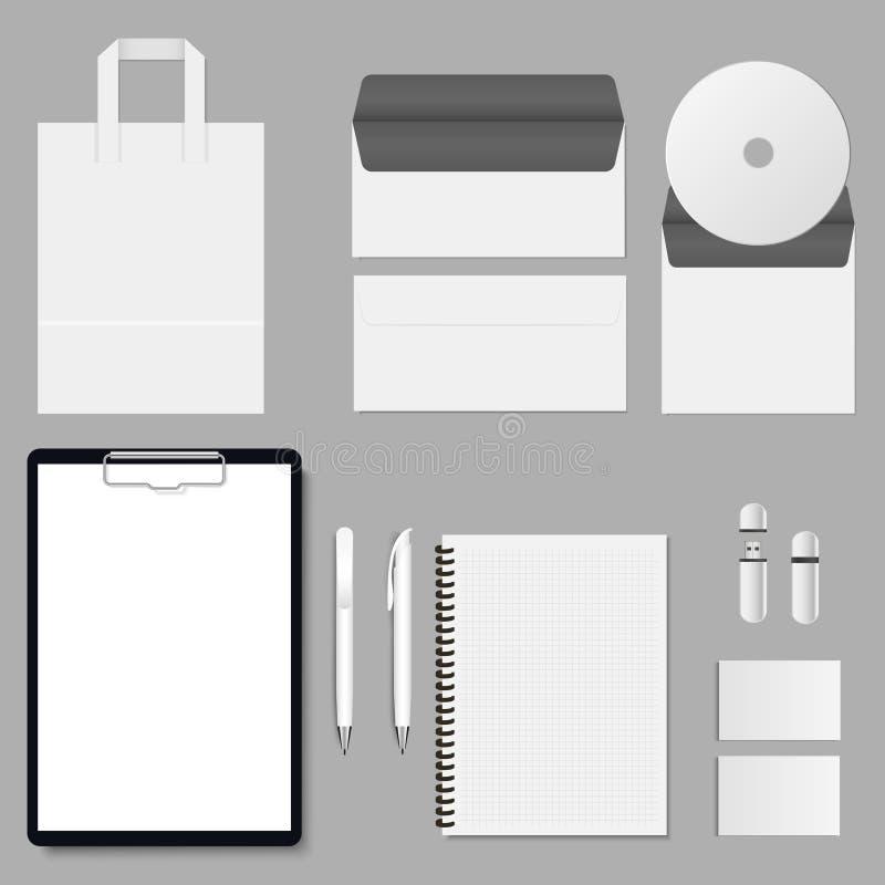 Vektorunternehmensspott oben Stellen Sie Einzelteile mit dem Klemmbrettordner, der Abdeckung, der Visitenkarte, der Tasche, der D lizenzfreie abbildung