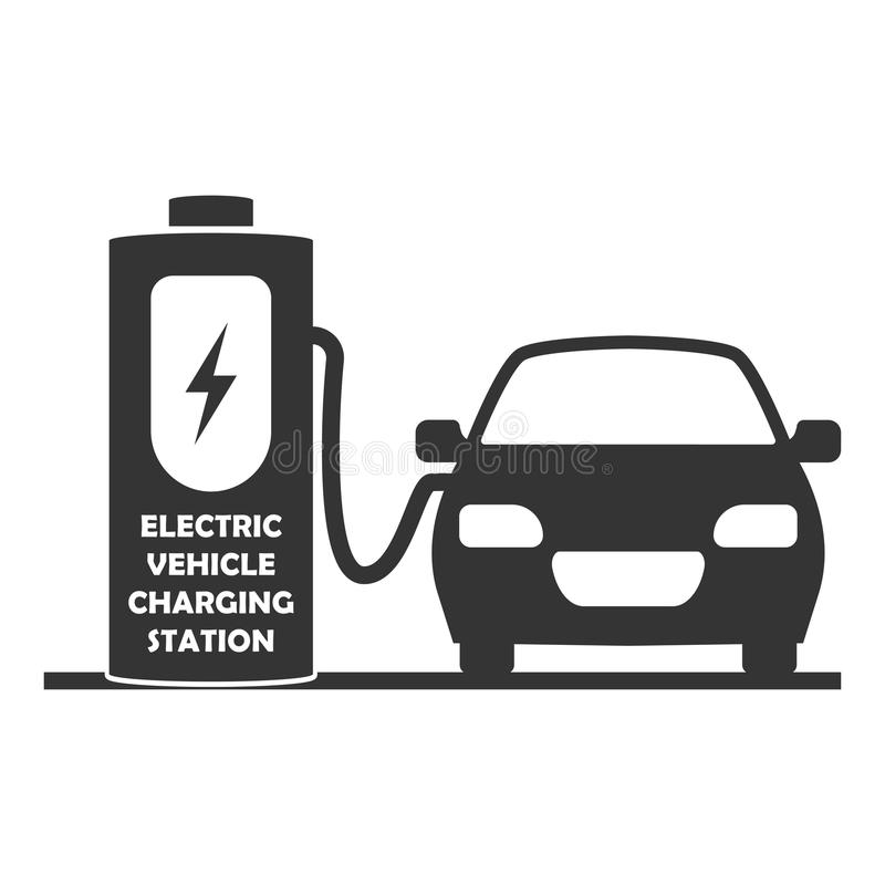 Vektoruppladdningsstation för elbilsymbol Elektriskt medel på laddning bakgrund isolerad white stock illustrationer