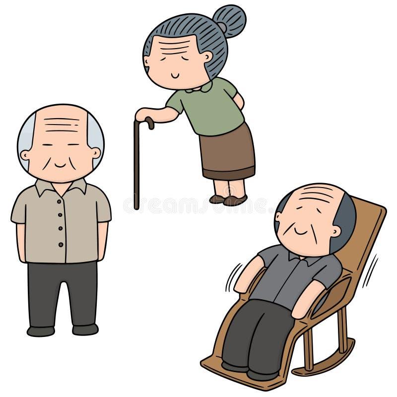 Vektoruppsättning av äldre folk vektor illustrationer
