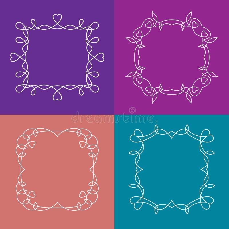 Vektoruppsättning av översiktsramar med blom- beståndsdelar vektor illustrationer