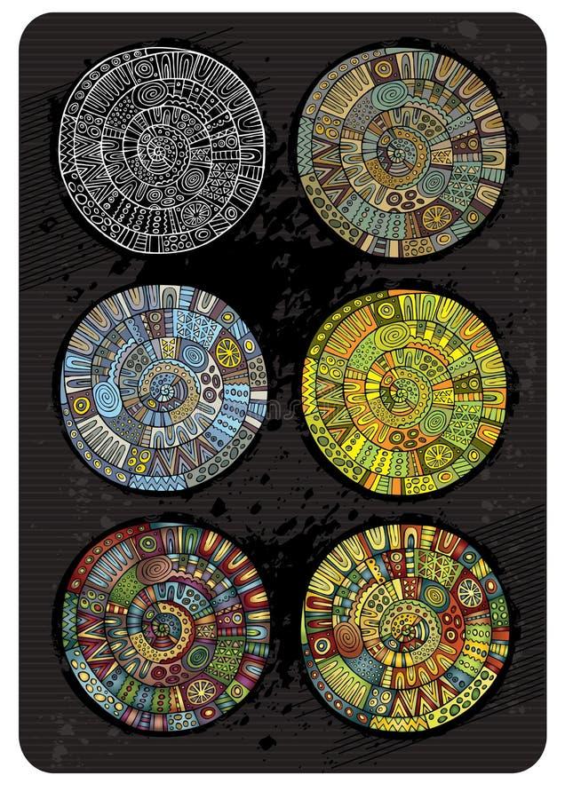 Vektoruppsättning av abstrakt begrepprundabakgrunder stock illustrationer