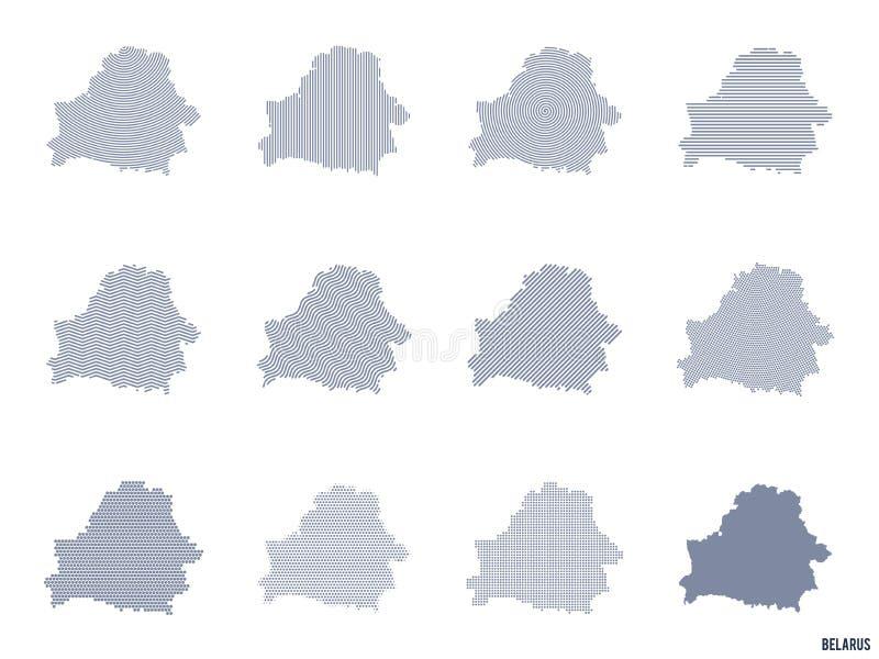 Vektoruppsättning av abstrakta översikter av Vitryssland i olika stilar stock illustrationer