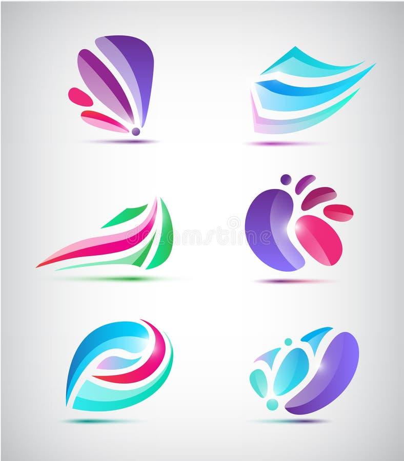 Vektoruppsättning av abstrakta blom- symboler stock illustrationer