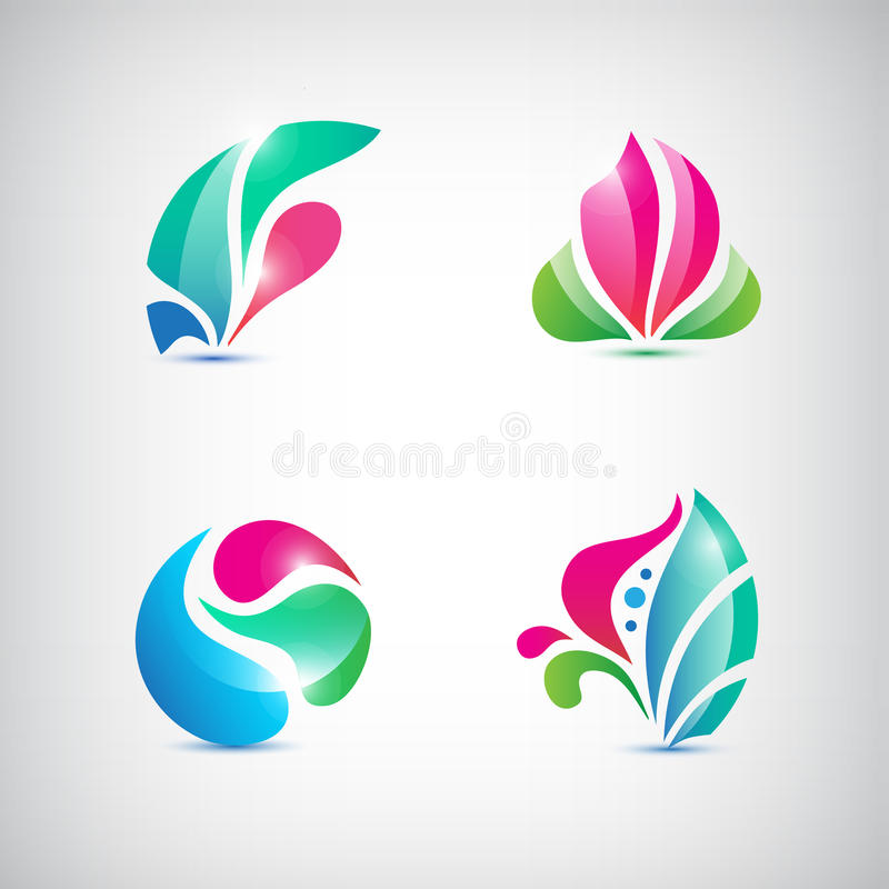 Vektoruppsättning av abstrakta blom- symboler royaltyfri illustrationer