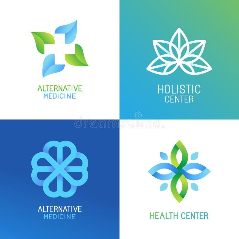 Vektoruppsättning av abstrakta logoer och emblem stock illustrationer