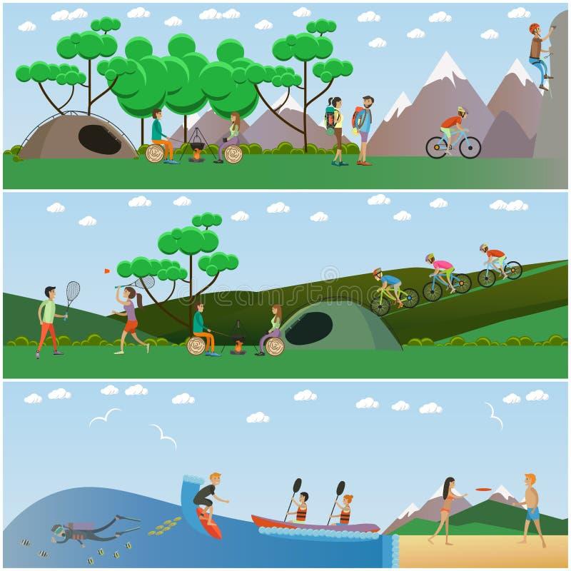 Vektoruppsättning av affischer för begrepp för utomhus- aktiviteter för sommar, lägenhetdesign royaltyfri illustrationer