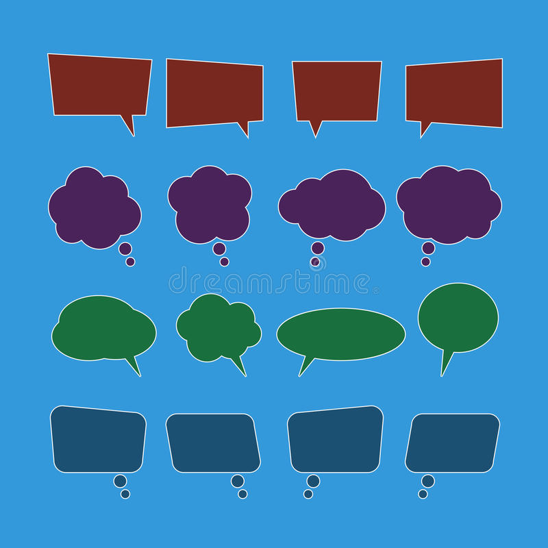 Vektoruppsättning av anförandebubblasymboler stock illustrationer