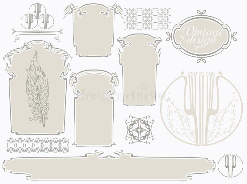 Vektoruppsättning av Art Nouveau royaltyfri illustrationer
