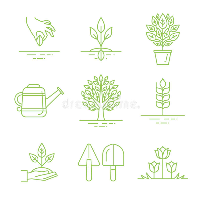 Vektoruppsättning av att arbeta i trädgården symboler och linjära illustrationer vektor illustrationer
