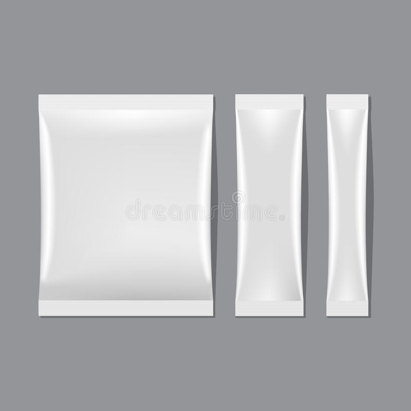Vektoruppsättning av att förpacka för vitmellanrumspåse stock illustrationer